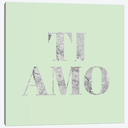 """Ti Amo"" Gray on Green Canvas Print #LTL40} by 5by5collective Canvas Wall Art"