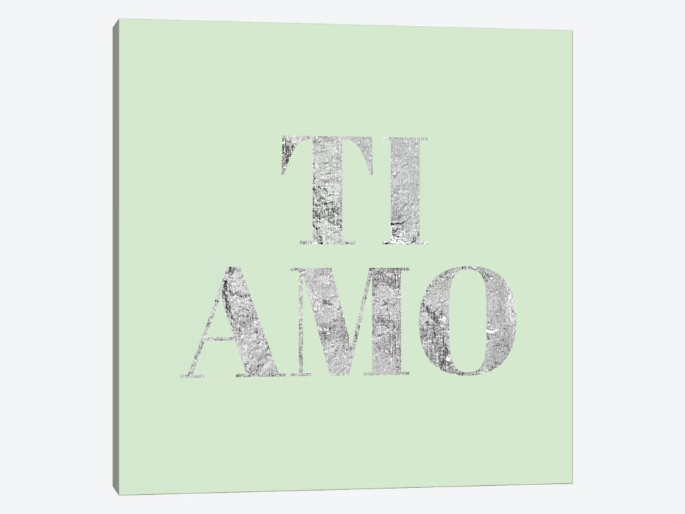 """Ti Amo"" Gray on Green by 5by5collective 1-piece Canvas Artwork"