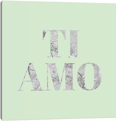 """Ti Amo"" Gray on Green Canvas Art Print"