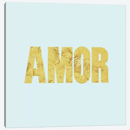"""Amor"" Yellow on Light Blue Canvas Print #LTL4} by 5by5collective Canvas Art"