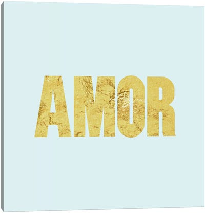 """Amor"" Yellow on Light Blue Canvas Art Print"