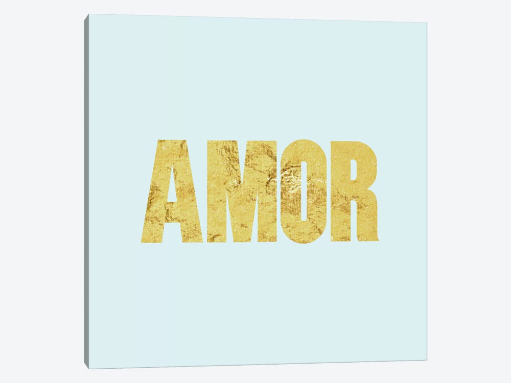 """Amor"" Yellow on Light Blue 1-piece Canvas Wall Art"