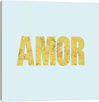 """Amor"" Yellow on Light Blue Canvas Art Print"