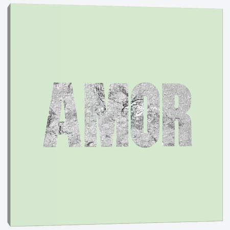 """Amor"" Gray on Light Green Canvas Print #LTL5} by 5by5collective Canvas Art"