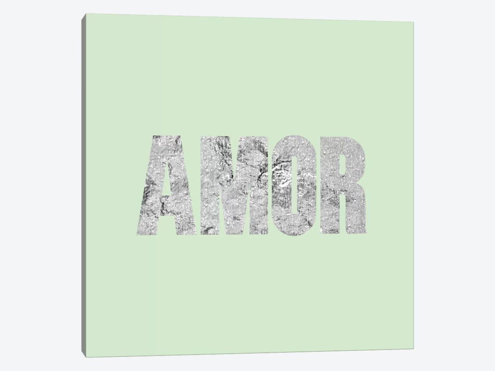 """Amor"" Gray on Light Green by 5by5collective 1-piece Canvas Print"