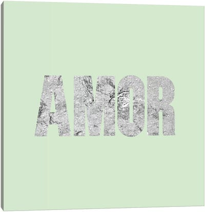 """Amor"" Gray on Light Green Canvas Art Print"