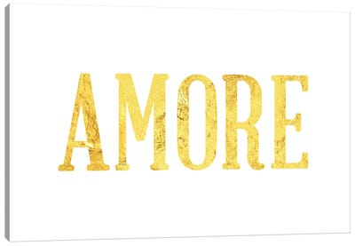 """Amore"" Yellow on White Canvas Art Print"