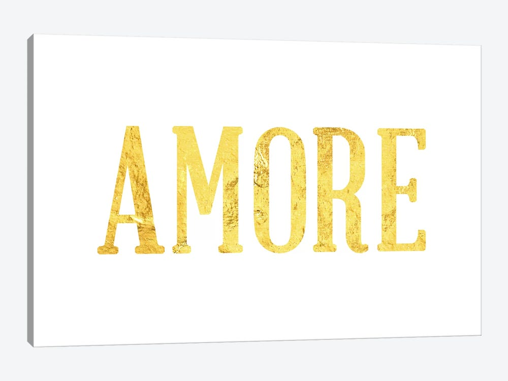 """Amore"" Yellow on White by 5by5collective 1-piece Canvas Artwork"