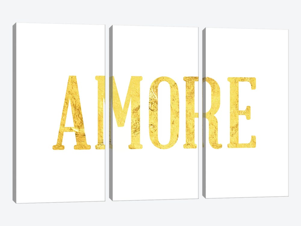 """Amore"" Yellow on White by 5by5collective 3-piece Canvas Wall Art"