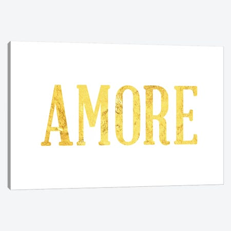 """""""Amore"""" Yellow on White Canvas Print #LTL6} by 5by5collective Canvas Art"""
