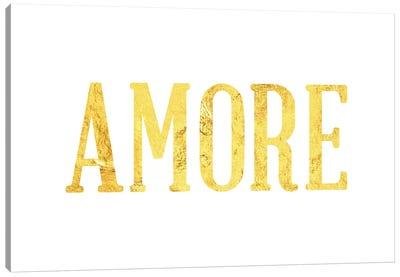 """Amore"" Yellow on White Canvas Art Print"