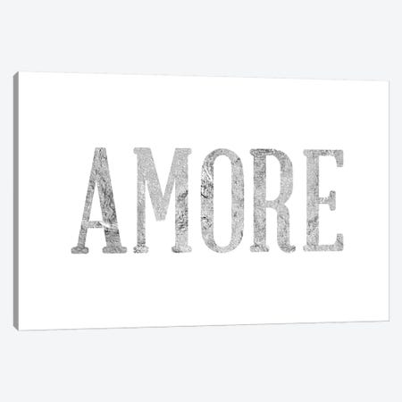 """Amore"" Gray on White Canvas Print #LTL7} by 5by5collective Canvas Artwork"