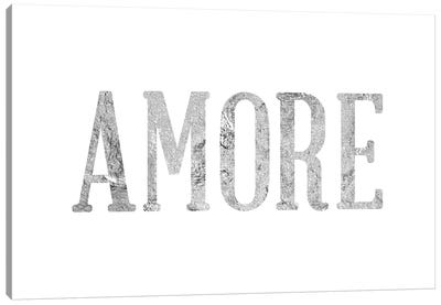 """Amore"" Gray on White Canvas Art Print"