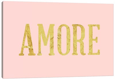 """Amore"" Yellow on Pink Canvas Art Print"