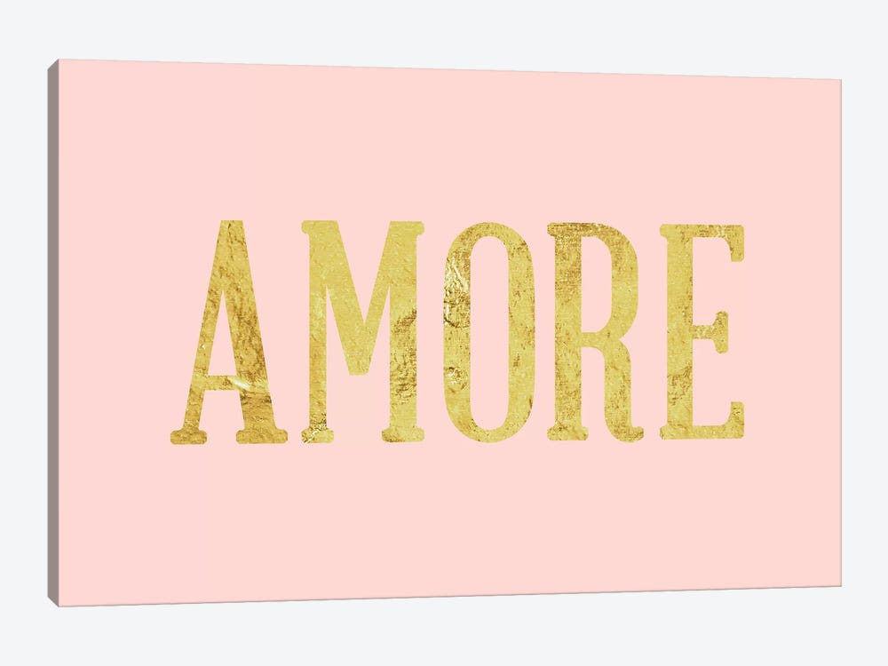 """Amore"" Yellow on Pink by 5by5collective 1-piece Canvas Wall Art"