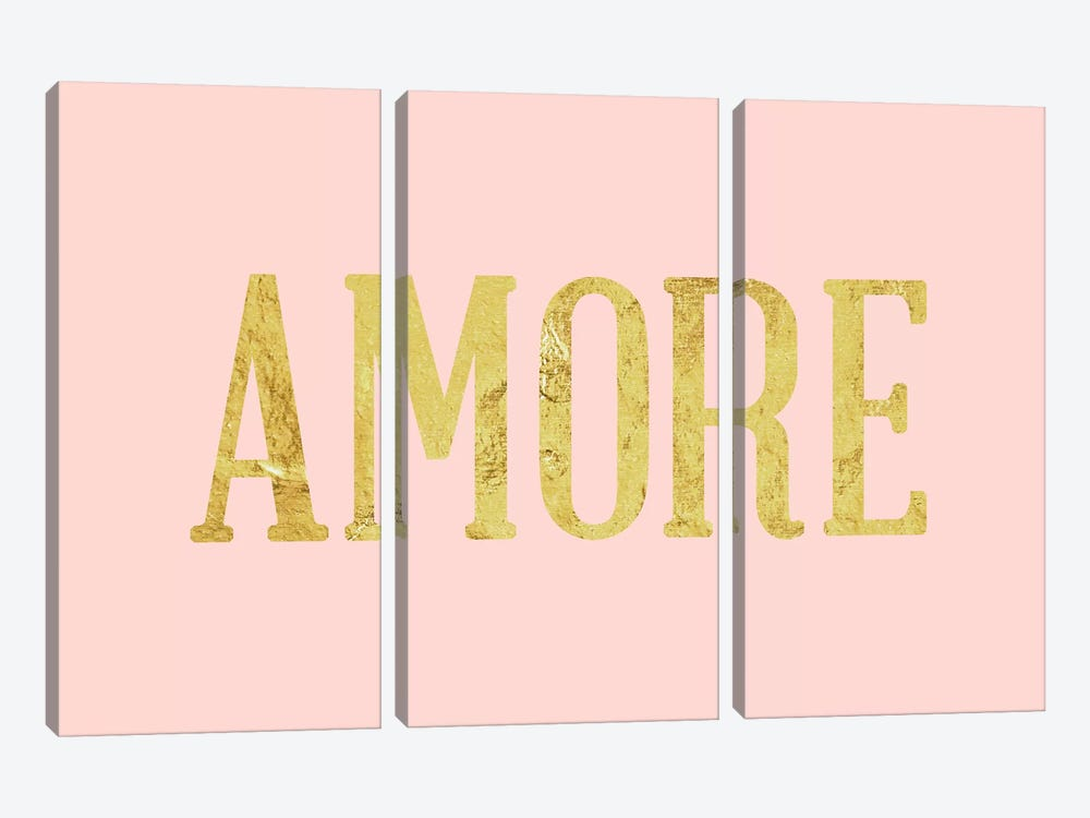 """Amore"" Yellow on Pink by 5by5collective 3-piece Canvas Art"