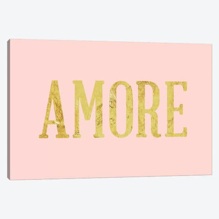 """""""Amore"""" Yellow on Pink Canvas Print #LTL8} by 5by5collective Canvas Art Print"""
