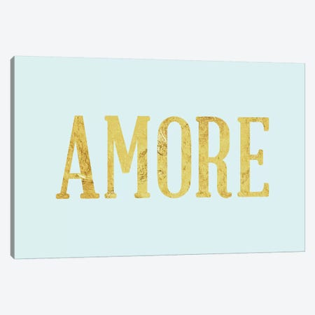 """Amore"" Yellow on Light Blue Canvas Print #LTL9} by 5by5collective Art Print"