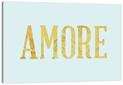 """Amore"" Yellow on Light Blue Canvas Art Print"
