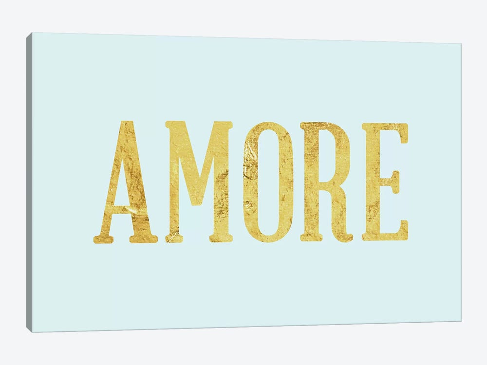 """Amore"" Yellow on Light Blue by 5by5collective 1-piece Canvas Print"