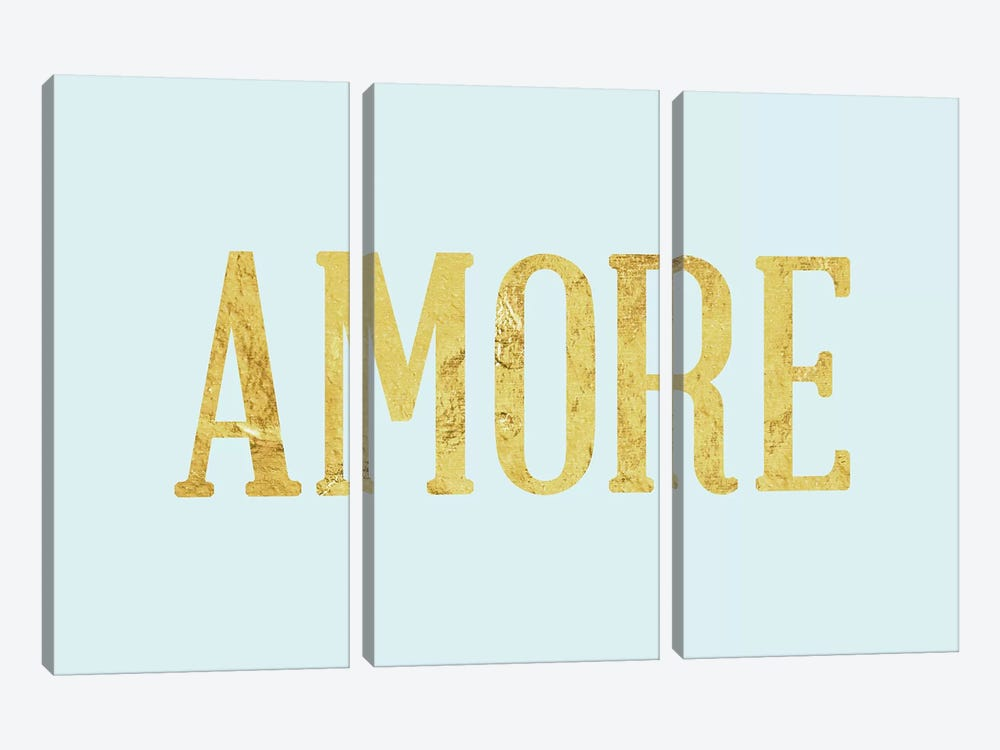 """Amore"" Yellow on Light Blue by 5by5collective 3-piece Canvas Print"