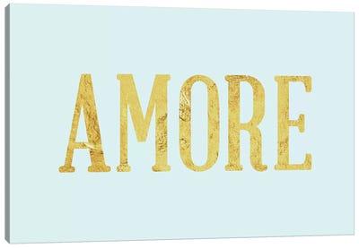 """Amore"" Yellow on Light Blue Canvas Art Print"