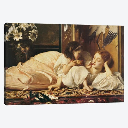 Mother And Child Canvas Print #LTN4} by Frederic Leighton Canvas Artwork