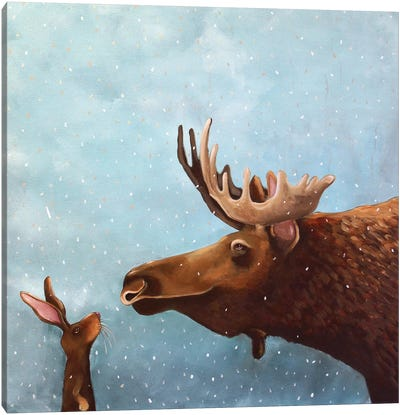 Moose and Rabbit Canvas Art Print