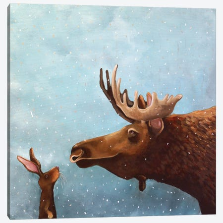 Moose and Rabbit 3-Piece Canvas #LUC8} by Lucia Stewart Art Print