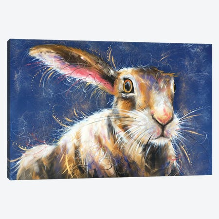 Hare Stare Canvas Print #LUG10} by Louise Green Art Print