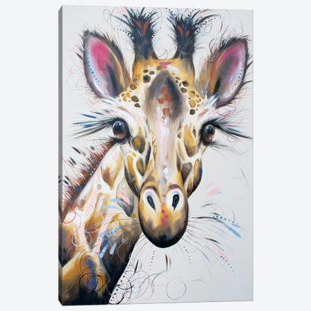 Gerry Giraffe Canvas Print #LUG7} by Louise Green Canvas Wall Art