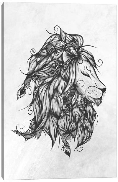 Poetic Lion In Black & White Canvas Art Print