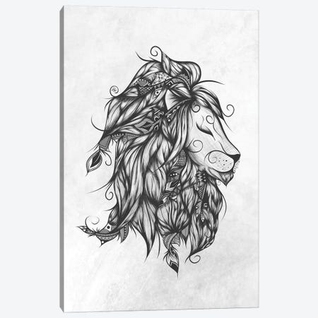 Poetic Lion In Black & White 3-Piece Canvas #LUJ11} by LouJah Canvas Art