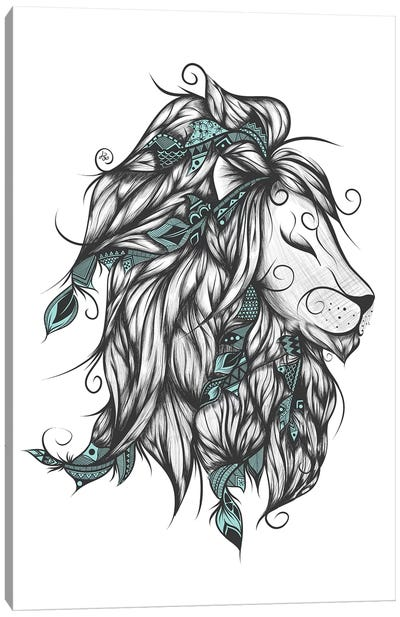 Poetic Lion In Turquoise Canvas Art Print