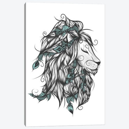 Poetic Lion In Turquoise Canvas Print #LUJ12} by LouJah Canvas Artwork