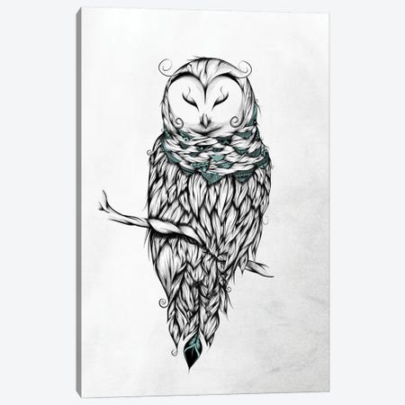 Poetic Snow Owl Canvas Print #LUJ17} by LouJah Art Print