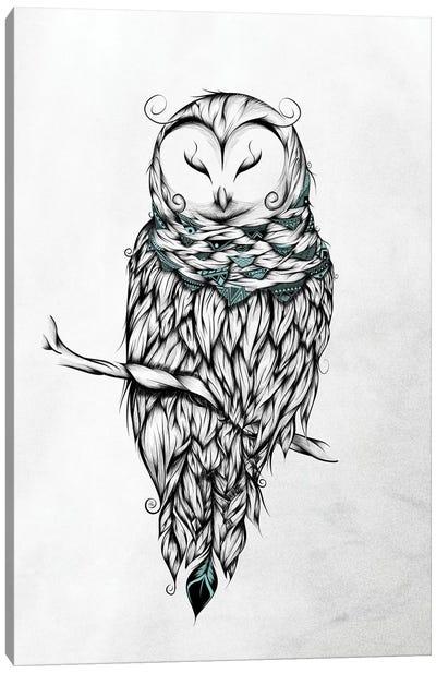 Poetic Snow Owl Canvas Art Print