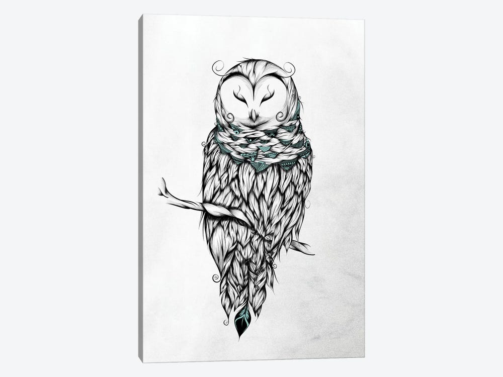 Poetic Snow Owl by LouJah 1-piece Canvas Artwork