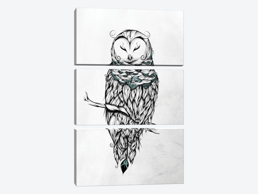 Poetic Snow Owl by LouJah 3-piece Canvas Art