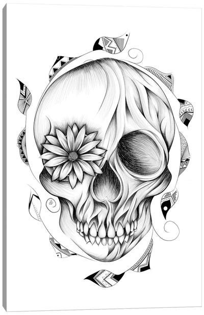 Poetic Wooden Skull In Black & White Canvas Art Print