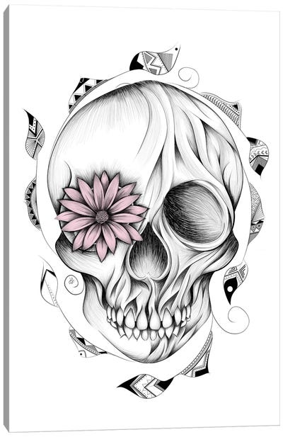 Poetic Wooden Skull In Pink Canvas Art Print