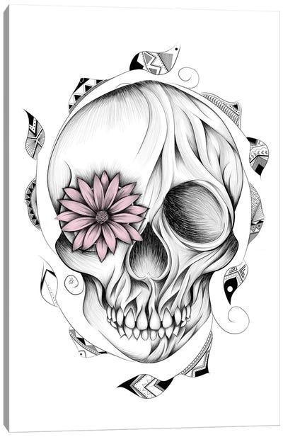 Poetic Wooden Skull In Pink Canvas Art Print