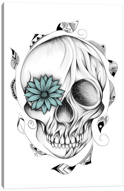 Poetic Wooden Skull Canvas Art Print