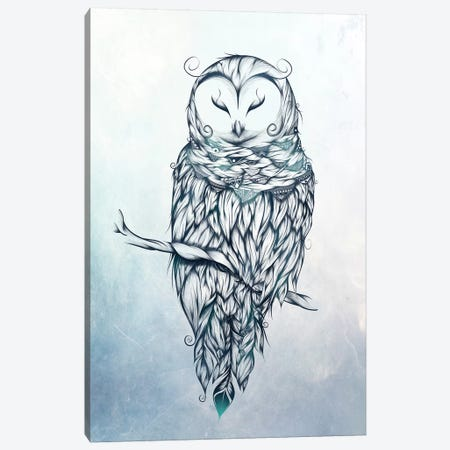 Snow Owl Canvas Print #LUJ22} by LouJah Art Print