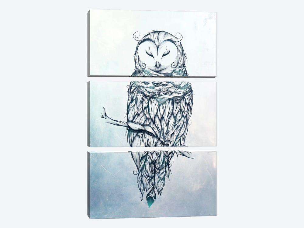 Snow Owl by LouJah 3-piece Canvas Artwork