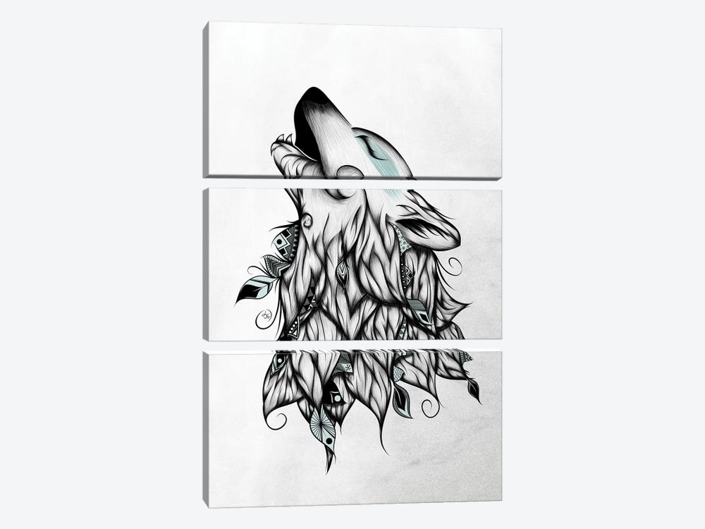 The Wolf by LouJah 3-piece Canvas Artwork