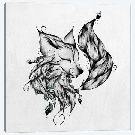 Fox In Black & White Canvas Print #LUJ27} by LouJah Canvas Art