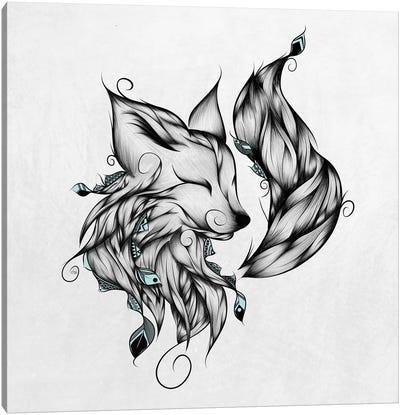 Fox In Black & White Canvas Art Print