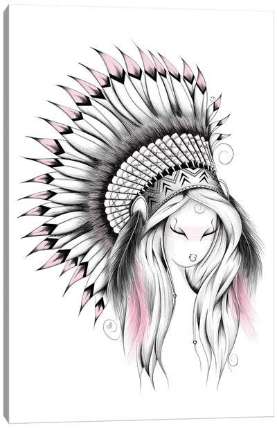 Indian Headdress In Pink Canvas Art Print