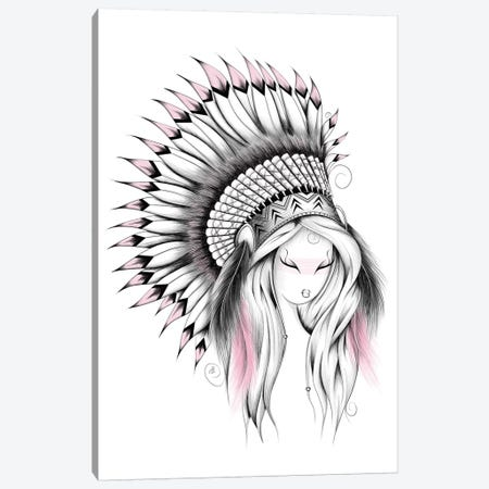Indian Headdress In Pink Canvas Print #LUJ28} by LouJah Canvas Print